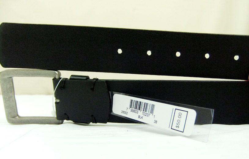 Mens MICHAEL KORS Black Leather Cold Steel Belt 38