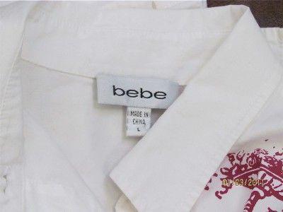 BRIGHT WHITE BEBE Long Sleeve w/CHERUB ANGELS Top Blouse ~ LARGE