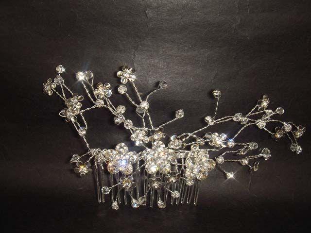 Bridal Rhinestone Crystal Flower Headpiece headwear Hair tiara Comb