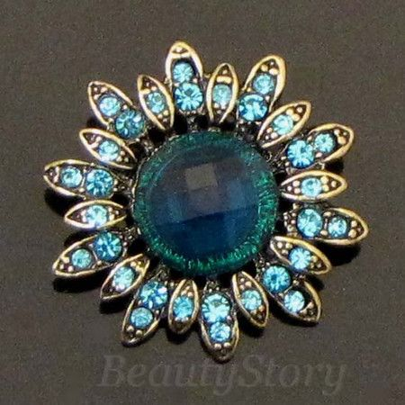 Item  1 pc antiqued rhinestone crystal flower brooch pin