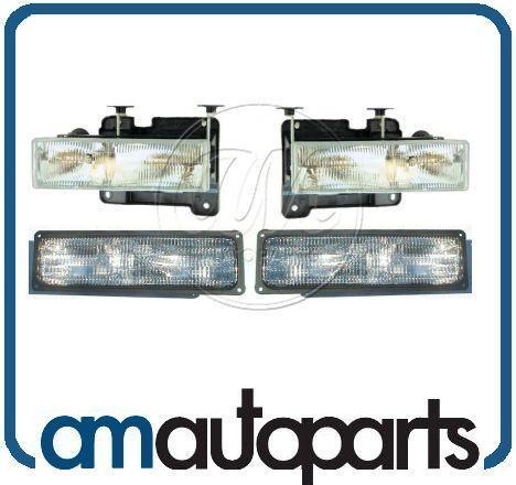 Chevy GMC Truck Headlights Headlamps & Parking Corner Signal Light Set