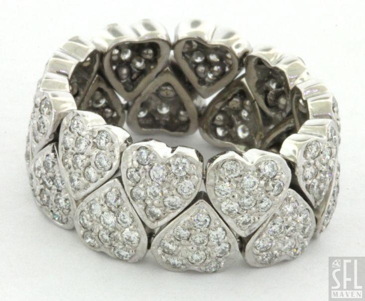 HEAVY 18K WHITE GOLD VSI 2/ F 3.80CT DIAMOND HEART ETERNITY BAND RING