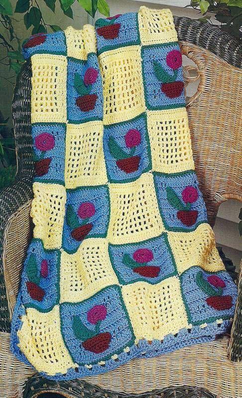 BEAUTIFUL FLOWER POT AFGHAN ~ Crochet Pattern ~