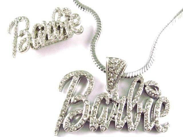 NICKI MINAJ BARBIE Pendant Chain & Ring Set Silver Lg