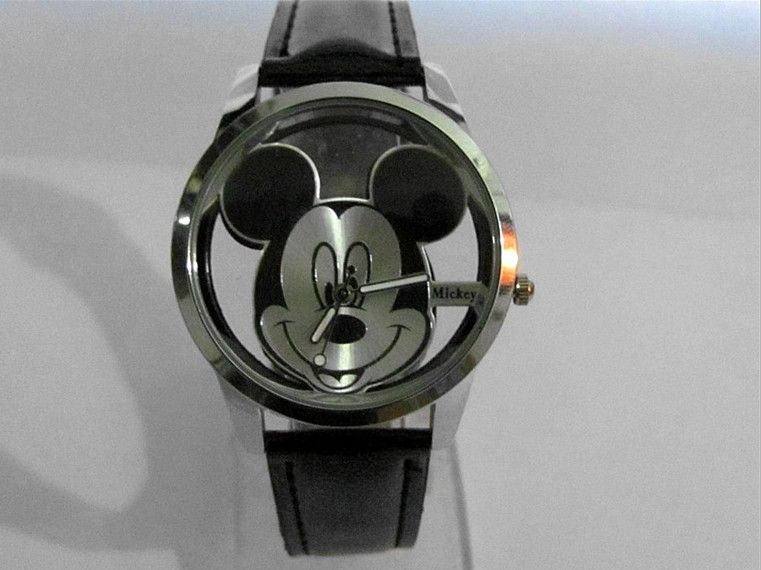 Mickey Mouse lovely smiling face mirror Stone Quartz watch Wrist watch